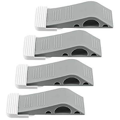 ELECOOL Door Stopper 4 Packs with Free Bonus Holders, Rubber Decorative Door Stop Wedge Fits Wood Carpet Tile Laminate Concrete Floor for House Bedroom Office Doors (Gray)