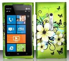 Nokia Lumia 900 (AT&T) Hawaiian Flowers Design Snap On Hard Case Protector Cover , Free Neck Strap and Free Wrist Band