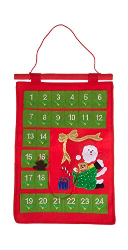 (Clever Creations Christmas 24 Day Santa Claus Advent Calendar Premium Holiday Décor | Felt with Embroidered Details | 24 Pockets | Character Day Marker | Unique Durable Decoration | 19
