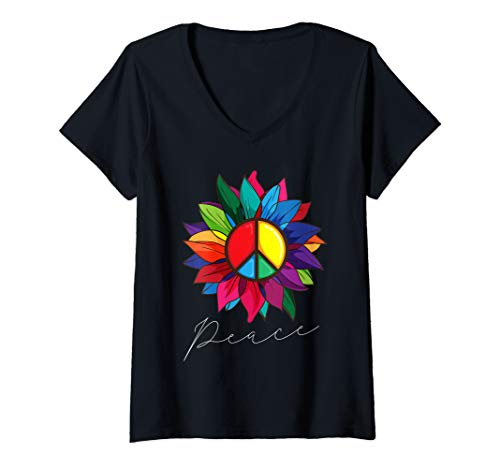 Womens Sunflower Flower Rainbow Peace Sign Hippie 70s V-Neck T-Shirt