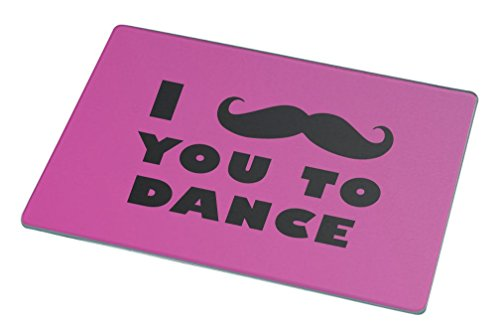 Rikki Knight I Mustache You To Dance Rose Pink Color Large Glass Cutting Board by Rikki Knight