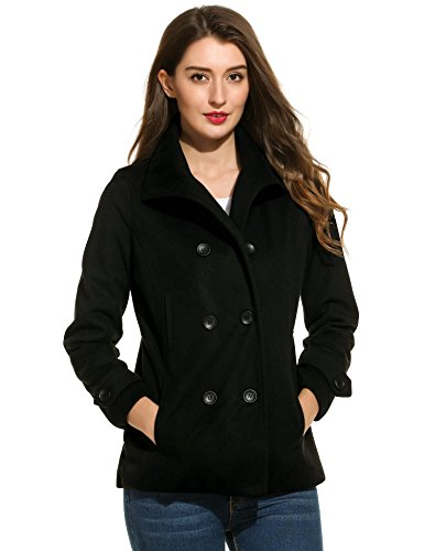 Zeagoo Women's Peacoat Double Breasted Overcoat Long Sleeve Jacket Black (Wool Peacoat Jacket)