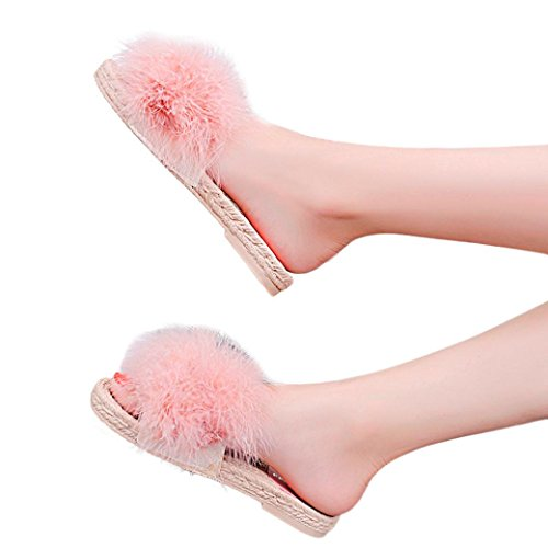vermers Clearance Sale Women Fashion Hairball Beach Shoes Indoor Outdoor Flat Heel Sandals Slipper(US:6, (Wholesale Chinese Slippers)