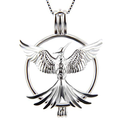 (925 Sterling Silver Phoenix Pendant Necklace for Women Jewelry, Design Pearl Cage Necklace for Women and Girls)