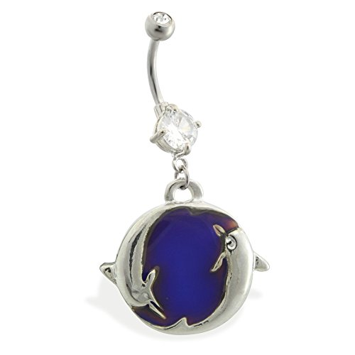 - Double Jeweled Belly Ring With Dangling Color Changing Dolphin Charm
