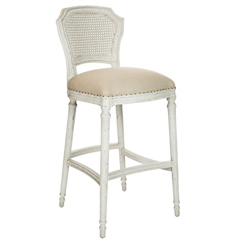 Kathy Kuo Home Camilla French Country Milk White Linen Barstool - Set of 2 ()