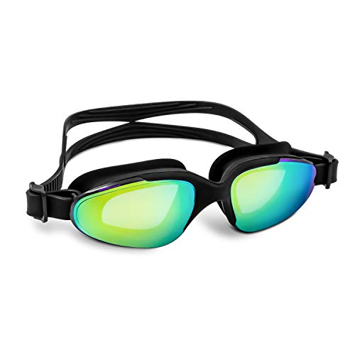 VETOKY Swim Goggles, Wide View Swimming Goggles Open Water UV Protection Anti Fog Leakproof Mirrored Goggles for Kids Children Youth Women Men Adult