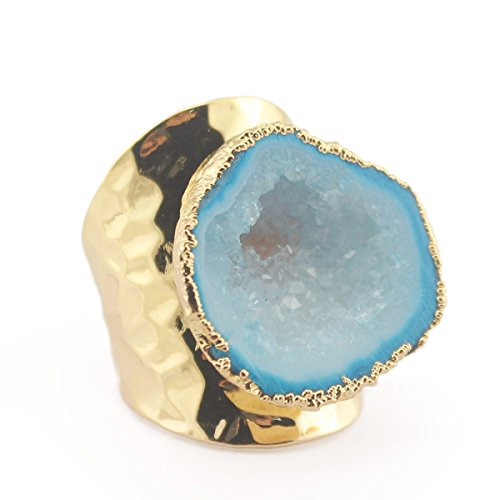 Hoxis Fancy Cycle Texture Raw Crystal Cluster Druzy Glod Plating Handmade Ring Candy Gemstone Jewelry (Blue)
