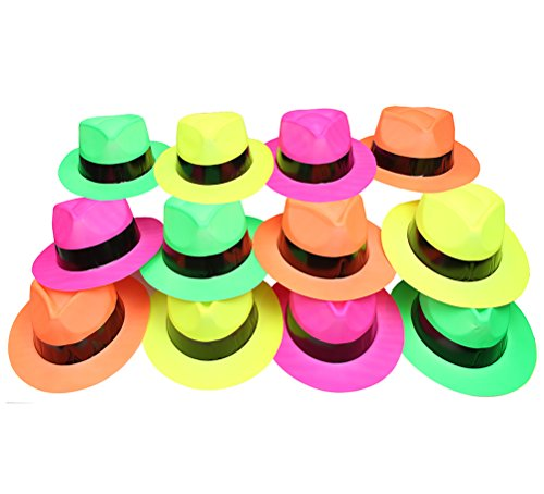 [Neon Plastic Gangster Fedora Costume Novelty Hat] (Neon Party Outfits)