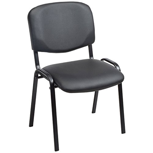 Stacking Guest Chair, Vinyl, Black, Lot of 1 by Global Industrial