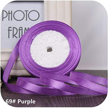 kawayi-桃 25ヤード/ロールグログランサテンリボン結婚式のクリスマスパーティーの装飾6mm-40mm DIY弓クラフトリボンカードギフト-Purple-6mm