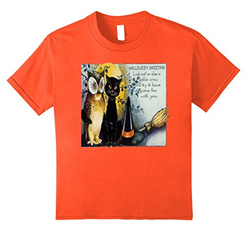 Kids Vintage Retro Halloween Black Cat Owl Poem T-Shirt Tee 8 Orange (Black Cat Halloween Poem)
