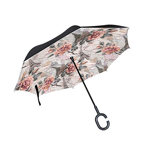 KUneh Double Layer Inverted Paris Eiffel Tower Flower Valentine Heart Umbrellas Reverse Folding Umbrella Windproof Uv Protection Big Straight Umbrella for Car Rain Outdoor with C-Shaped Handle