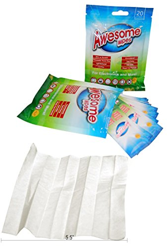 - 60-Pack AwesomeWipes Disinfecting Screen Cleaning Wipes. Individually Wrapped, Lint-Free, and Pre-moistened So They Won't Dry Out. Comes with Resealable Travel Bag. 100% Guarantee.