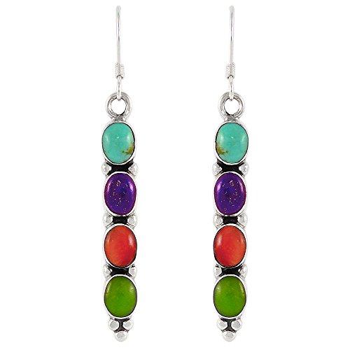 Turquoise & Gemstones Earrings in Sterling Silver 925 (Multi)