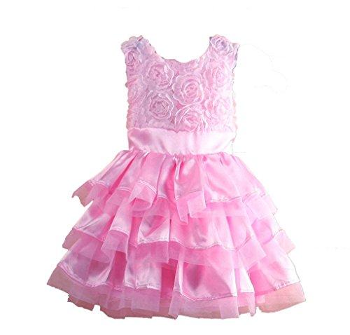 Rush Dance Little Girl's Pink Rosette Flowers Play Dress & Matching Headband Set (90 (12-18M))