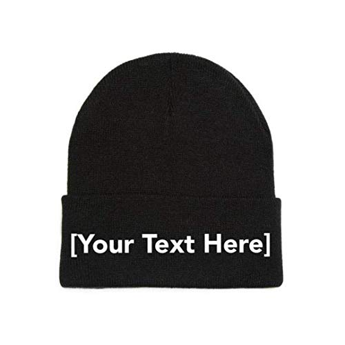 Custom Beanie Personalized with Your Own Text Embroidered Gifts Winter Hat Men Women Warm Knit Cuff Cap Black]()