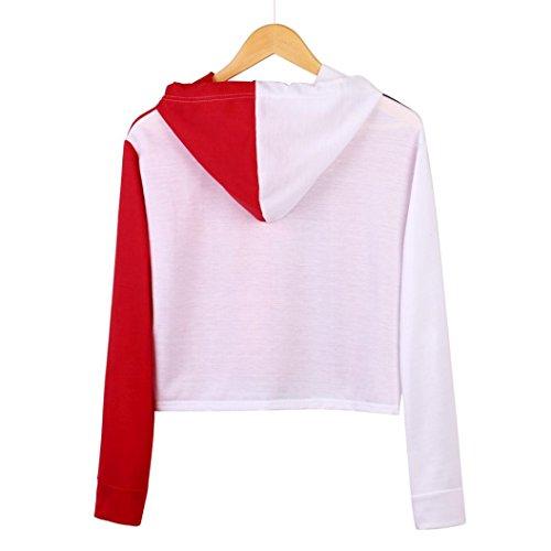 Cropped Corta Cara Mujeres venmo Sudadera Divertido Mosaico Capucha Rojo Manga Patchwork Camiseta Cortas Mujer Tops Larga Con ZqZYO