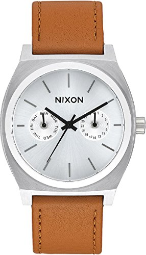 - Nixon Unisex Time Teller Deluxe Leather Silver Sunray/Saddle One Size
