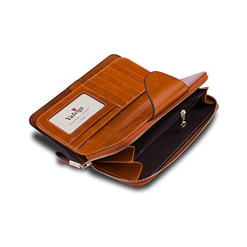3d9439d1640 Yafeige Large Luxury Women's RFID Blocking Tri-fold Leather Wallet Zipper  Ladies Clutch Purse(