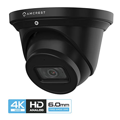 Amcrest UltraHD 4K Dome Outdoor Security Camera, 4K (8-Megapixel), Analog Camera, 164ft Night Vision, IP67 Weatherproof Housing, 6mm Lens 55° Wide Angle, Built-in Microphone, Black (AMC4KDM6-B)