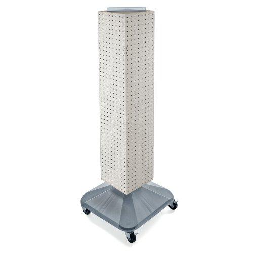 Azar Displays 703388-WHT Standard Four-Sided Interlocking Pegboard Tower, White Solid by Azar Displays