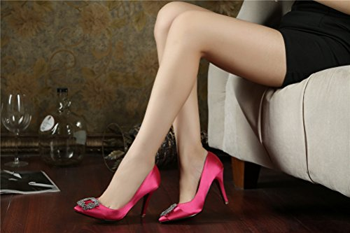 SEXYHER RoseRed 2 8 High Fashion Damenschuhe 2 8 Of Zoll Satin Office SHOMQ968 Diamant Heel 88 Haken pgHxpnaqr