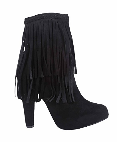 Heels with Decor Faux Black Breckelle's Fringes Ankle and High Suede Zipper High Booties Women 8p8awYxqH