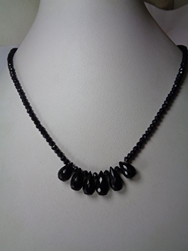 Genuine Black Spinel Drop Beads Necklace, 16 Inches Necklace, Healing Beads Necklace (Bead Black Spinel Necklace)