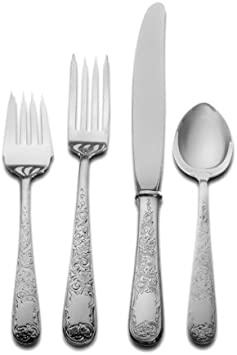 Kirk Stieff Old Maryland Engraved 4 Piece Sterling Silver Flatware Place Set Service For 1 Flatware Sets Amazon Com