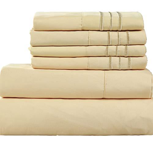 EASELAND 6-Pieces 1800 Thread Count Microfiber Bed Sheet Set-Wrinkle & Fade Resistant,Deep Pocket,Hypoallergenic Bedding Set,King,Golden