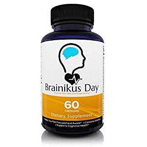 Brainikus Day All Natural Brain Nootropics Energy Supplement (60 Capsules – 30 Day Supply) – Support Memory Enhancer, Supreme Focus and Cognitive Booster Function
