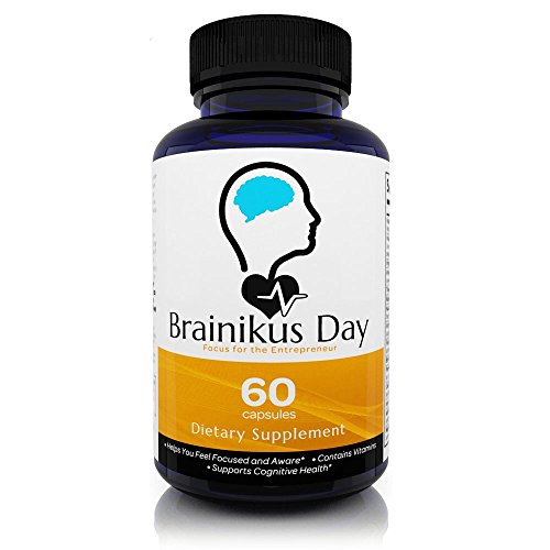 Brainikus Day All Natural Brain Nootropics Energy Supplement (60 Capsules – 30 Day Supply) – Support Memory Enhancer, Supreme Focus and Cognitive Booster Function by Brainikus