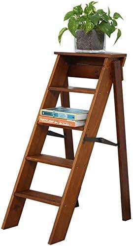 MWPO Escalera de Madera de 3/5 escalones, Taburete Plegable, diseño 2 en 1 con Escalera, Taburete y Estante de Almacenamiento, Escalera Plegable de Madera de Pino multifunción para el hogar, bibl: Amazon.es: Hogar