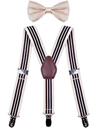 add6a44675c2 Men's Boys' Suspenders with Bow Tie Set Adjustable Y Back