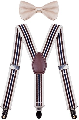 - ORSKY Big Boys' Suspender with Bow Tie Set Adjustable Elastic Brown Stripe