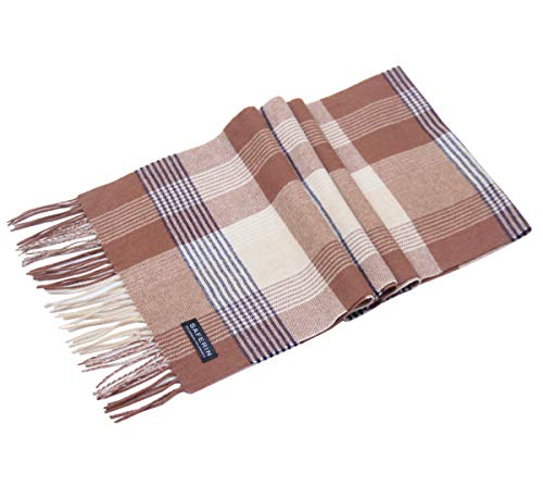 Saferin Cashmere and Wool Classic Check Plaid Warm Soft Scarf for Women Men with Gift Box(8-Camel Plaid)