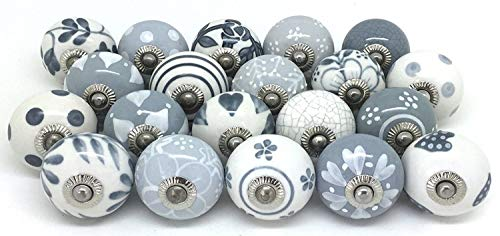 (Artncraft Knobs Grey & White Cream Rare Hand Painted Ceramic Knobs Cabinet Drawer Pull Pulls (20 Knobs))