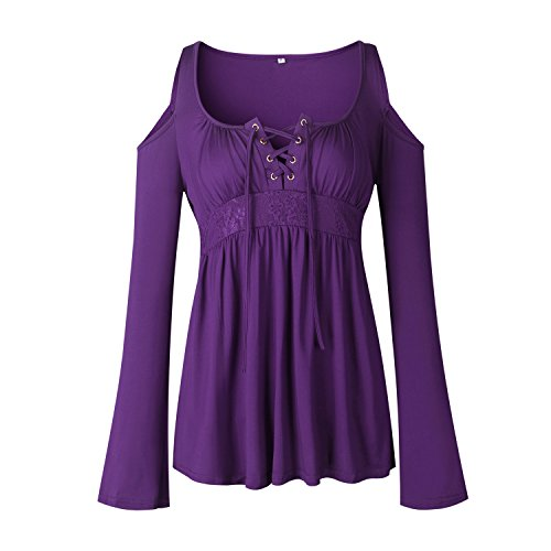 age Empire Lac La Manches paule paules Violet Chemise Top Shirt Dnude Shirt Dentellets Encolure Dnudes Taille Haut en Trapzee Profonde Plisse Blouse Longues Col V T Chemisier wqA8x0q6