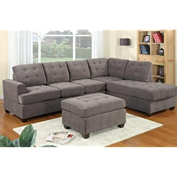 This Item 3pc Modern Reversible Grey Charcoal Sectional Sofa Couch With Chaise And Ottoman