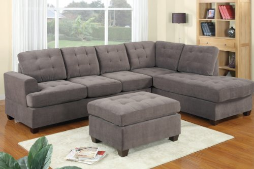 3 Piece Modern Reversible Grey Sectional Sofa Couch with Ottoman - Grey Living Room Set