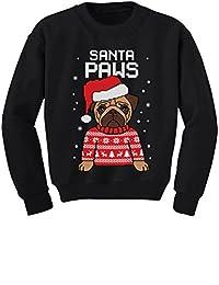 TeeStars - Santa Paws Pug Ugly Christmas Sweater Dog Youth Kids Sweatshirt