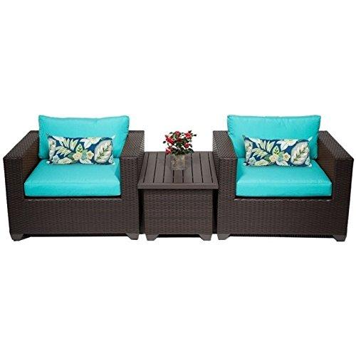 TK Classics 3 Piece Belle Outdoor Wicker Patio Furniture Set, Aruba