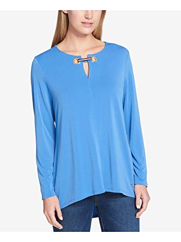 Tommy Hilfiger Womens Keyhole Textured Tunic Top Blue M