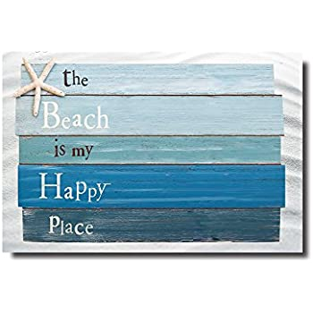 Beau Beach Themed Doormats Rugs The Beach Is My Happy Place   Plank Board Sign  With