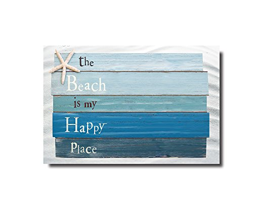 Beach Themed Doormats Rugs-The Beach Is My Happy Place - Plank Board Sign with Starfish Non-Slip Indoor/Outdoor/Front Door/Bathroom - Sign Mat
