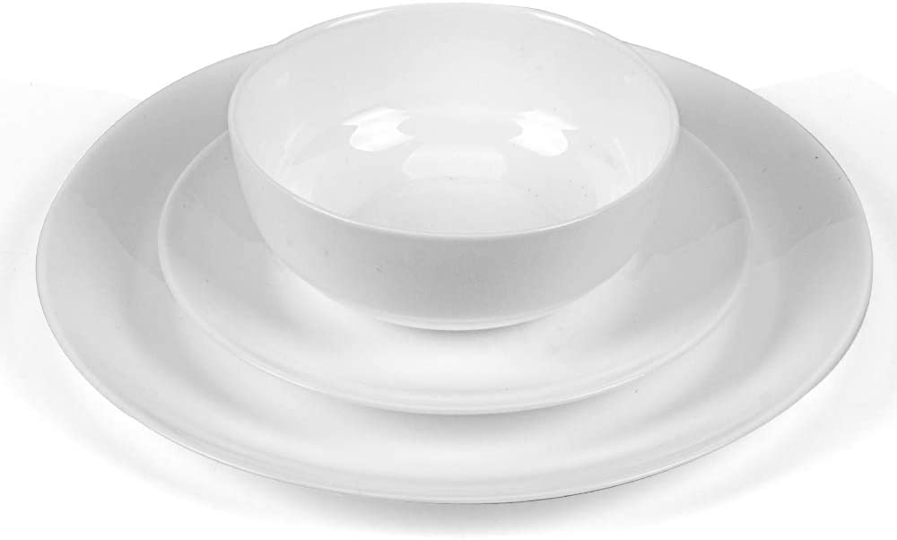 Dinnerware Set Danmers 12-piece Opal Dishes Sets Service for 4 Bowls Plates White