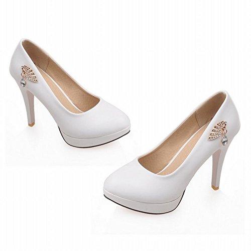 Damen Modern Elegant Runder Toe mit Strass Metall-Dekoration Trichterabsatz Plateau Pumps (36, Pink) Mee Shoes