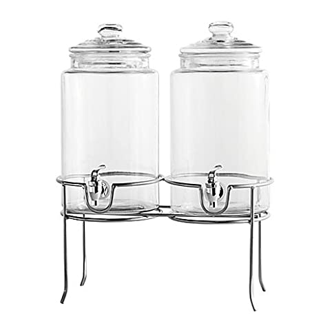 Dailyware Twin Beverage Dispenser with Metal Rack