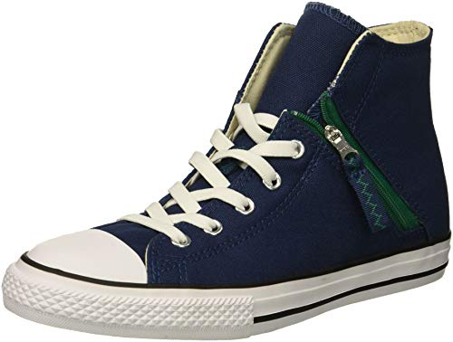 Converse Kids' Chuck Taylor All Star Pull-Zip High Top Sneaker, slate blue, 5 M US Big Kid ()